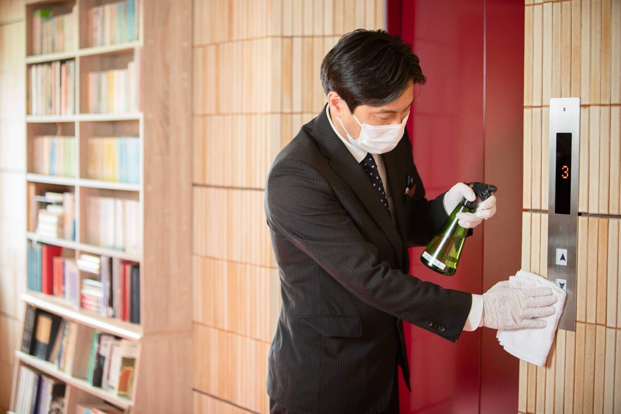High-Touch areas are increase cleaning frequency with alcohol.